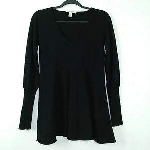 Autumn Cashmere V Neck Tunic Sweater Black S